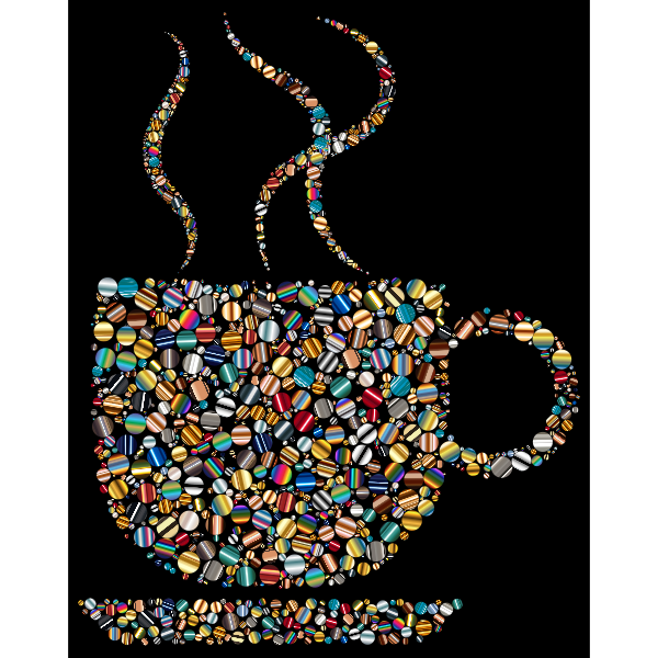 Colorful Coffee Circles 6 With Black Background