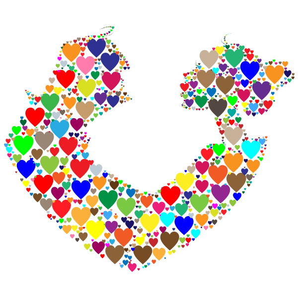 Colorful Couple Silhouette Hearts