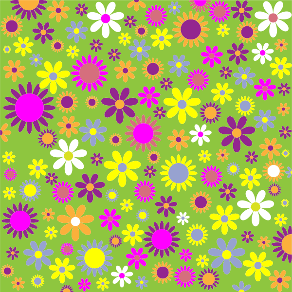 Floral pattern on green background