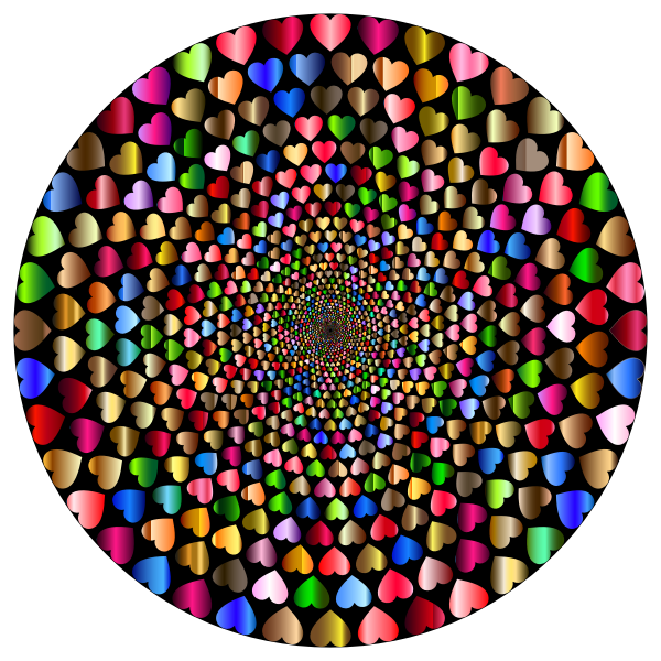 Colorful Hearts Vortex 12 Variation 2 With Background