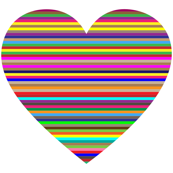 Colorful Horizontal Striped Heart