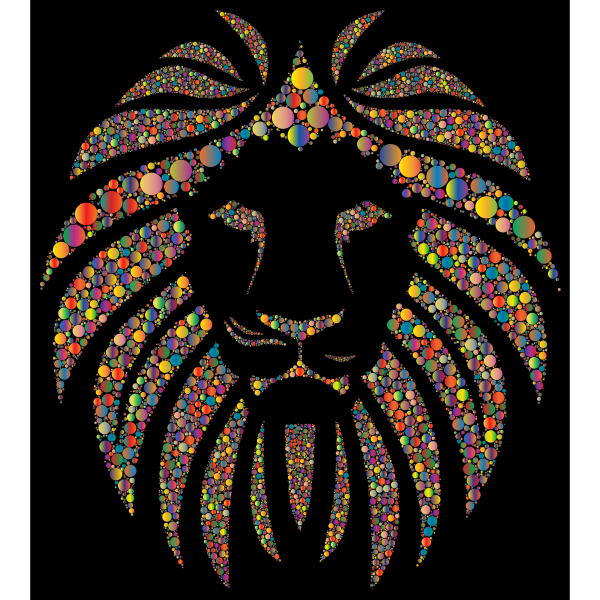 Colorful Lion Circles 3