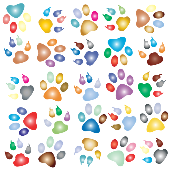 Colorful Paw Prints Pattern Background Reinvigorated 2 No Black background