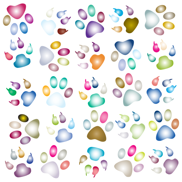 Colorful Paw Prints Pattern Background Reinvigorated 3 No Black background