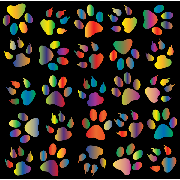 Colorful Paw Prints Pattern Background Reinvigorated 4
