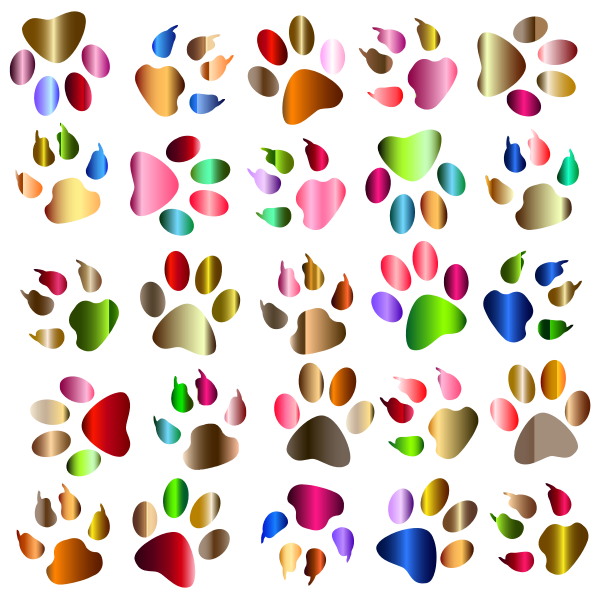 Colorful Paw Prints Pattern Background Reinvigorated No Black background