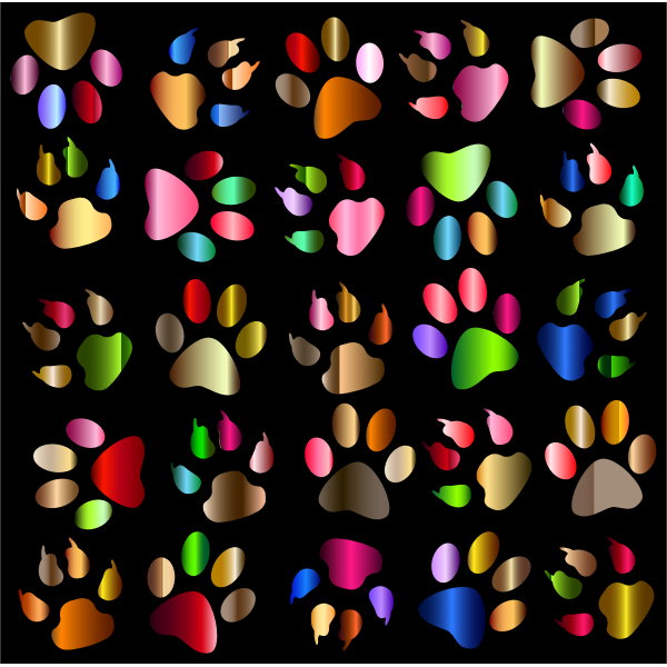 Colorful Paw Prints Pattern Background Reinvigorated