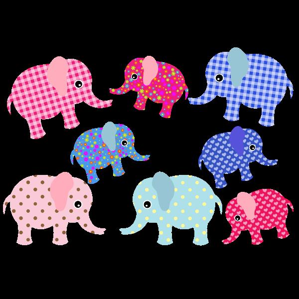 Colorful retro elephants