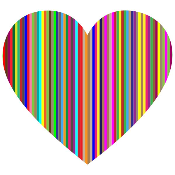 Colorful Vertical Striped Heart