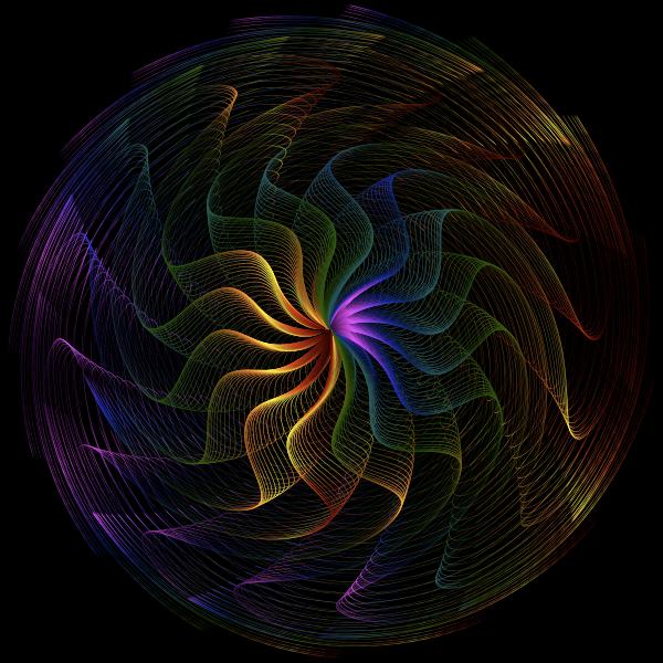 Colorful Wavy Vortex Line Art