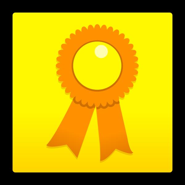 Vector illustration of contest winner orange ribbon