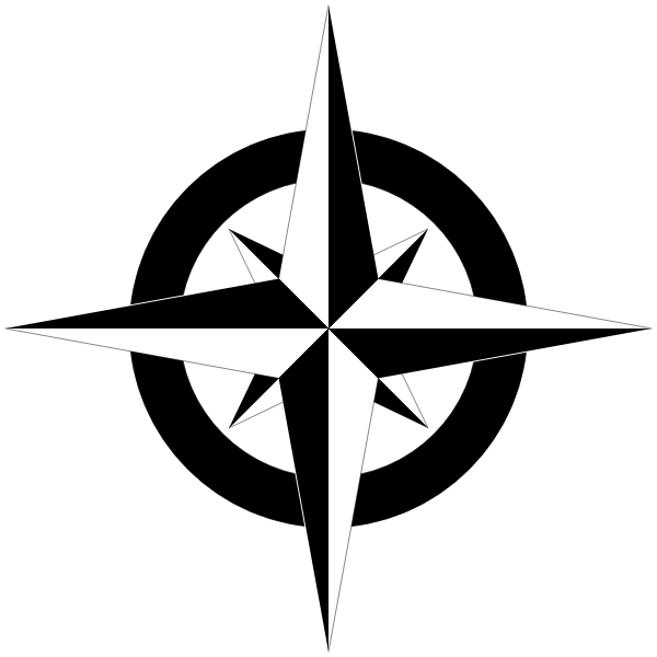 Compass rose in black and white