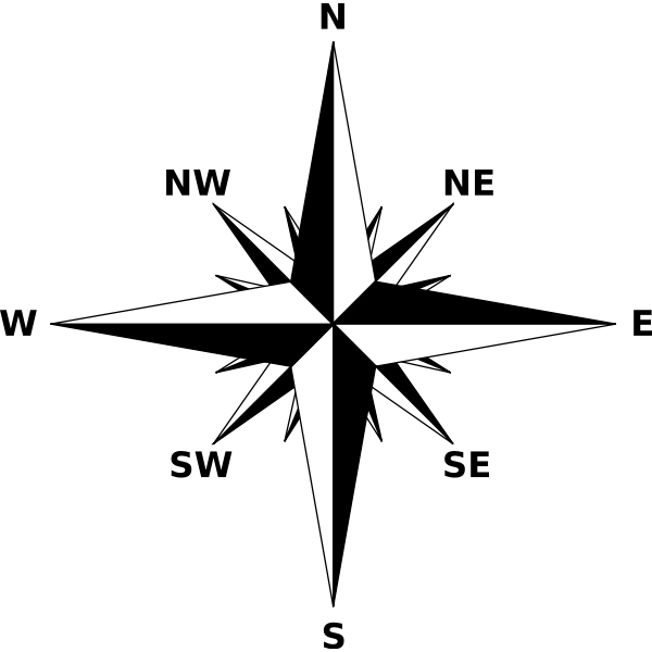 Compass rose in black and white color