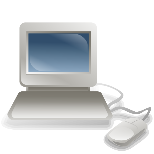 Computer with keyboard and mouse vector illustration