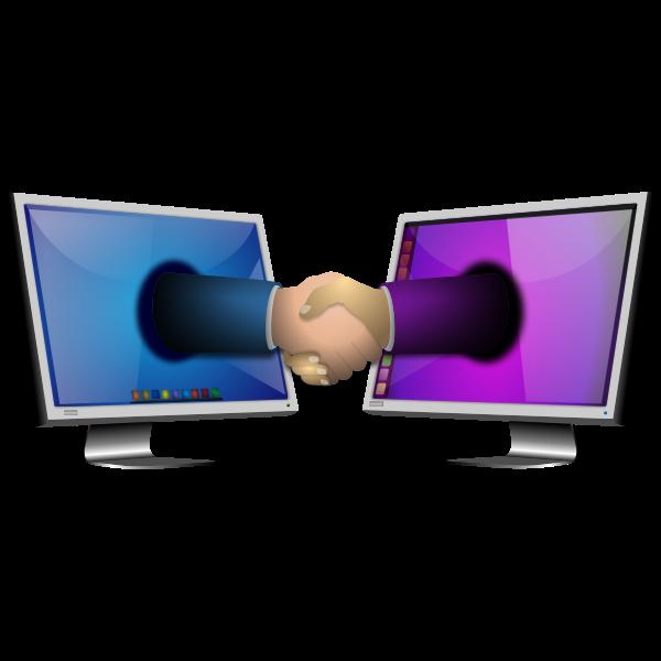Computer handshake vector illustration