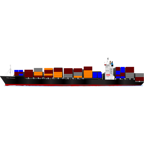 Container ship vector illustration