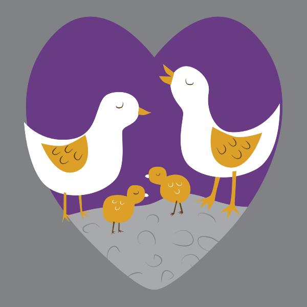 Vector clip art of loving chick family