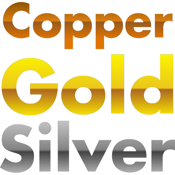Copper, gold, and silver gradients