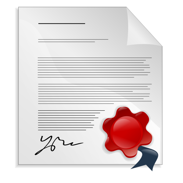 Document with signature and seal vector image