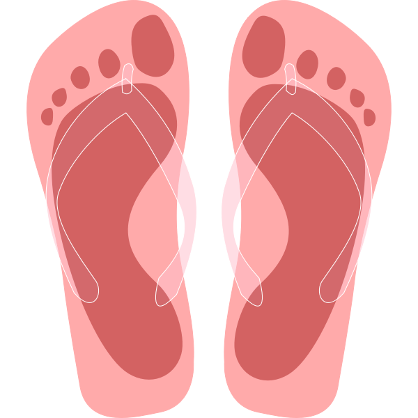 Flip flops with feet imprint vector illustration