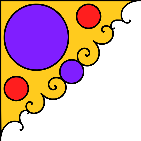 Vector illustration of corner decoration in yellow, purple and red