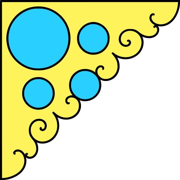 Vector graphics of pastel blue and yellow corner decoration