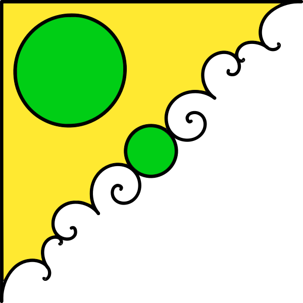 Vector image of green and yellow corner decoration