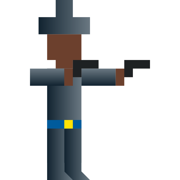 Vector image of cowboy with two guns pixel art