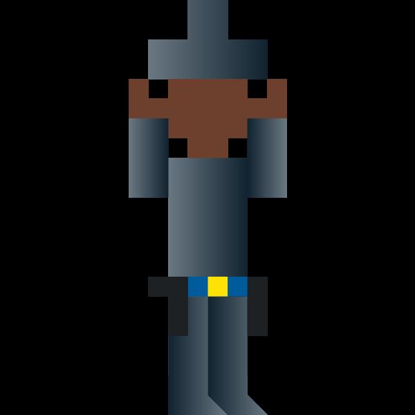 Vector drawing of panicking cowboy pixel art