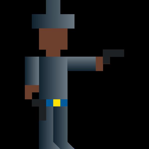 Vector illustration of shooting cowboy pixel art