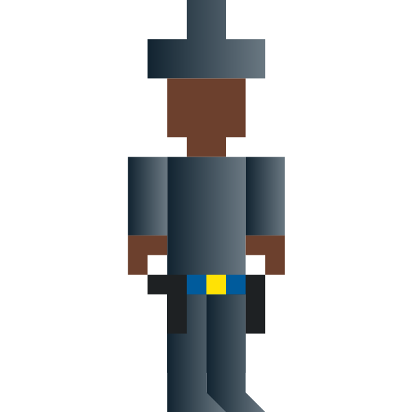 Vector graphics of cowboy with arms pixel art