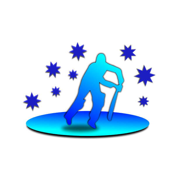 Vector silhouette of man playing cricket
