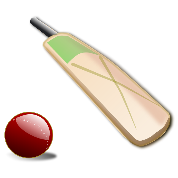 Cricket bat and ball vector illustrations