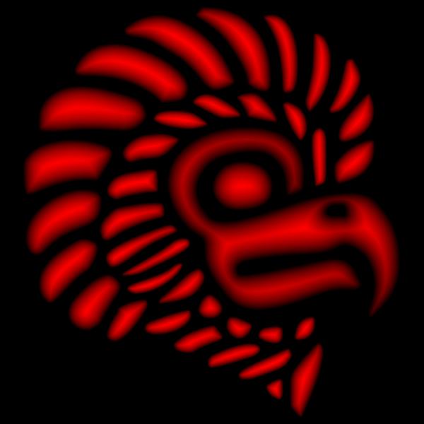 Crimson Stylized Mexican Eagle Silhouette