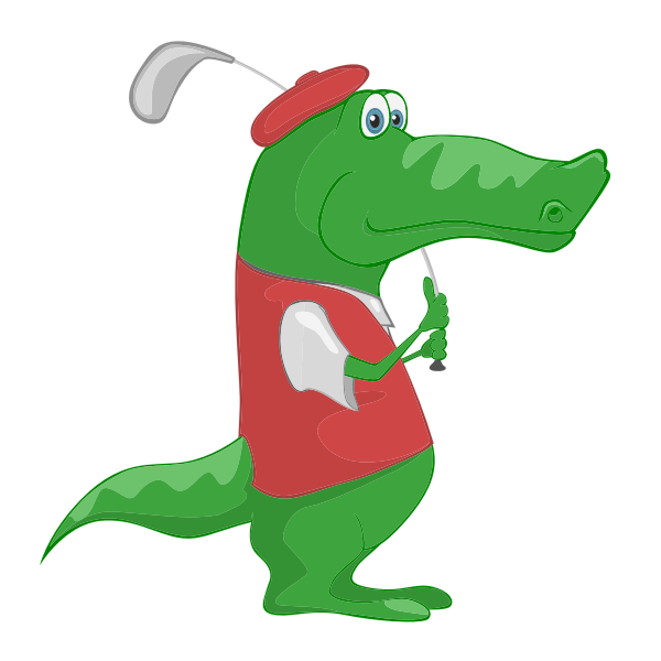 Crocodile playing golf