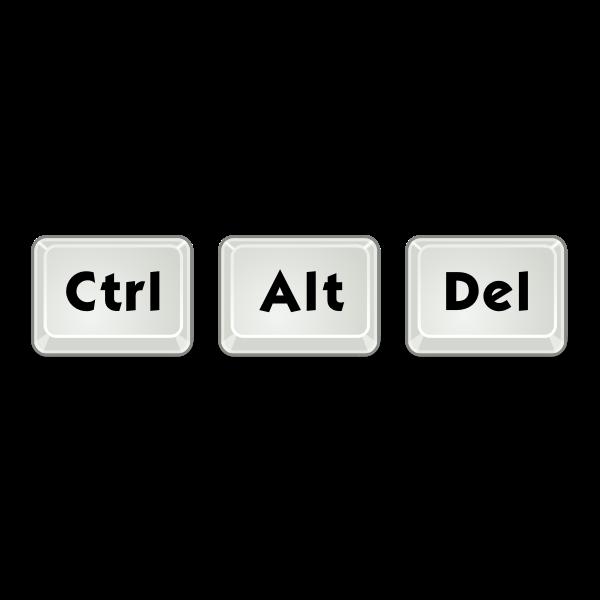 Ctrl+Alt+Delete key combination vector clip art