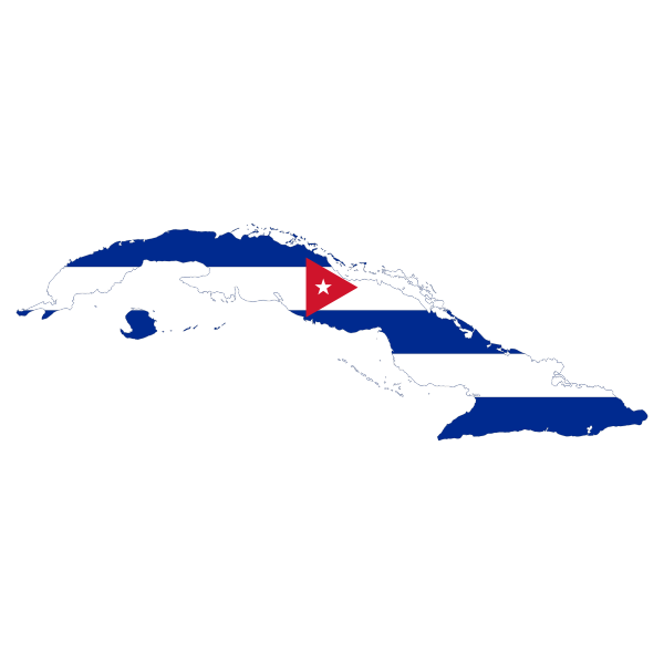 Cuba's flag and map