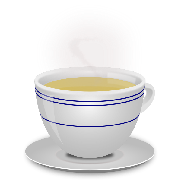 Vector image of a simple steaming teacup with a saucer