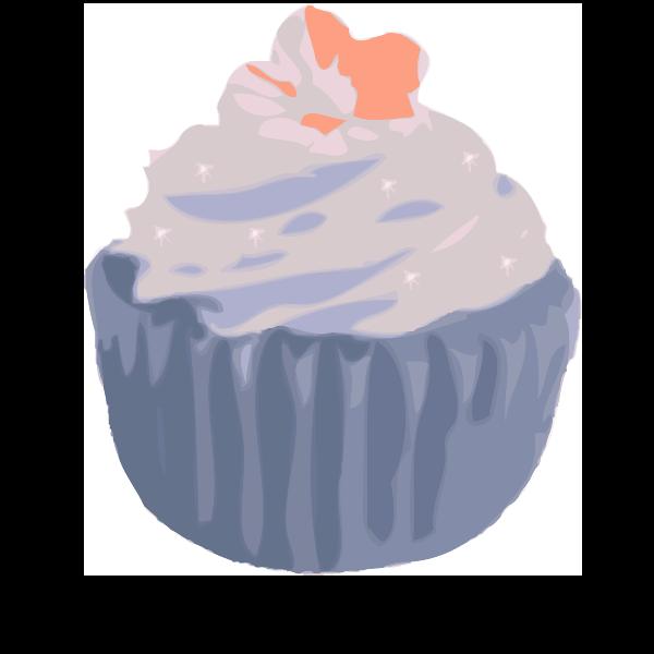 Vector drawing of chocolate cupcake