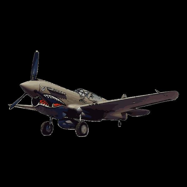 P-40 Warhawk aircraft vector illustration