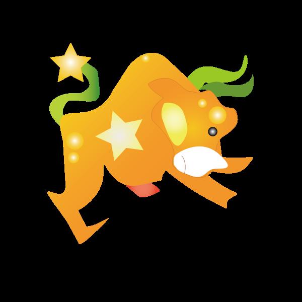 Vector graphics of orange cartoon cow