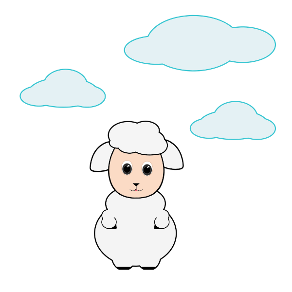 Cute lamb in the clouds