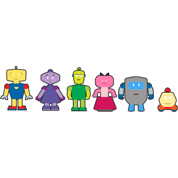 Vector graphics of colorful robot characters with outlines