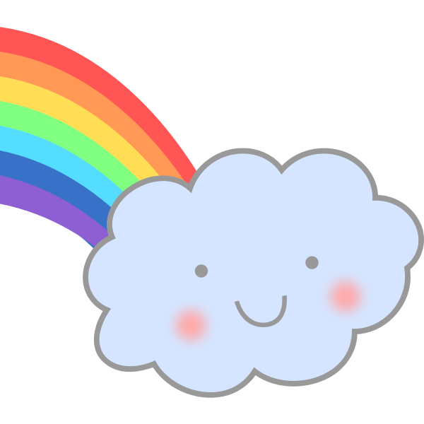 Cute cloud with rainbow vector image