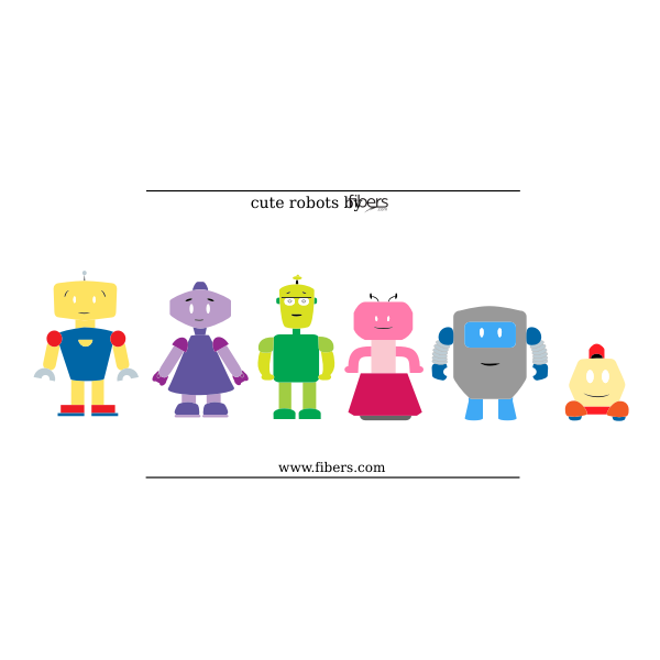 Colorful robots selection vector image