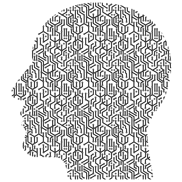 Cyber head vector silhouette