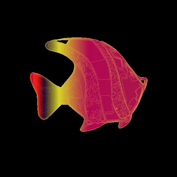 Decorative pink fish vector illustration