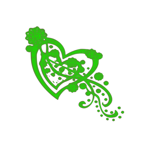 Green decoration with heart in the middle