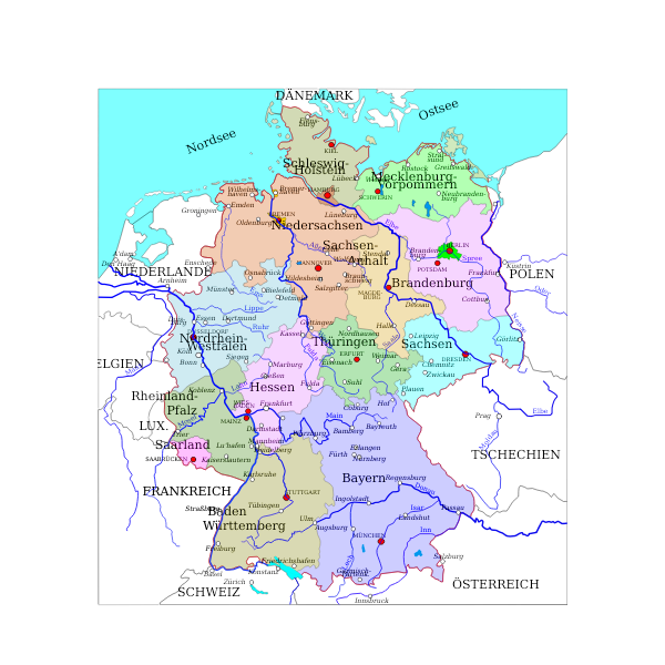Political map of Germany vector drawing