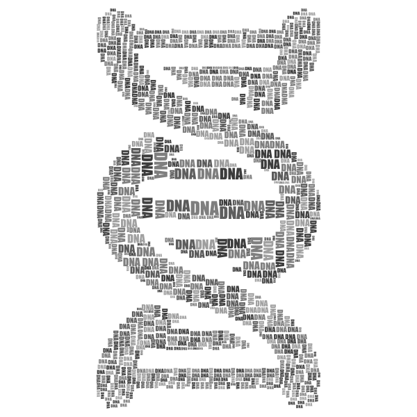 DNA Strand Word Cloud Typography Grayscale